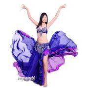 a572【ベーリーダンス】ブラ+ベルト+スカートのセット[紺色]