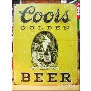 アメリカンブリキ看板 Coors/クアーズビール 金ラベル