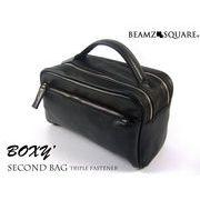 BEAMZSQUARE 牛革製BOXYスタイルセカンドバッグ BS-2405BK