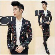 メンズスーツ スリム・セットアップ 花柄2点セット/ビジネス suit フォーマル リクルートスーツ