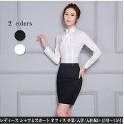レディース スーツ 2点セット リボンタイ付き 長袖シャツ+スカート OLブラウス スカート大きいサイズ