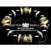 正規品★14ミリ玉☆金彫ジャンクションプロデュース&5本爪の皇帝龍オニキス×オニキス数珠