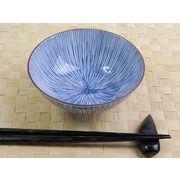 【内側&外側にも藍染デザイン】 繊細な藍染とくさ 特盛モリモリお茶碗