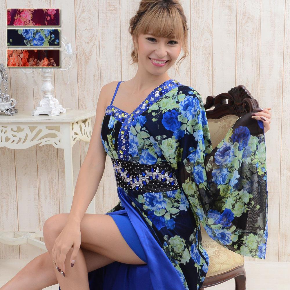 0559豪華ビジューロング着物ドレス和柄 衣装 ダンス よさこい 花魁 コスプレ ハロウィン