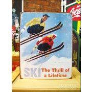 アメリカンブリキ看板 スキーでスリルのある人生