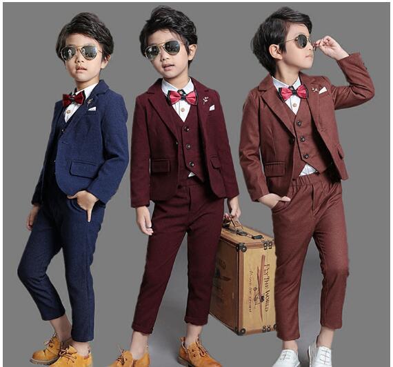f540ff3f85bc9 3点セット 男の子スーツ 上下セット フォーマル 男の子 ズボン ベスト+長パンツ+ジャケット