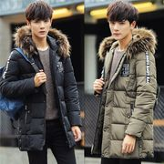 中綿ジャケット メンズ フード コートアウター ファー付き 英字 厚手 防寒着 アウトドア