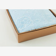 Miyabi 竹繊維バスタオル 刺繍入水色