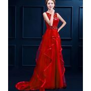 RED 大きいサイズ ウエディングドレス☆二次会/花嫁/プリンセス/パーティー★編み上げ/ロング丈/宴会