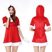 【即日出荷】手袋 うさ耳 赤 サンタコスチューム クリスマス コスプレ衣装【9458/2】