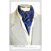 エレガント袋縫いペーズリー柄メンズ用100%シルクスカーフ 10123