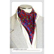 エレガント袋縫いペーズリー柄メンズ用100%シルクスカーフ 10124