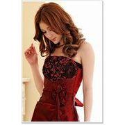 【即納】結婚式パーティー演奏会胸元バラ上品ロングドレスマキシワンピース赤2L DC-LSFS-J3106