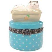 ツイン 猫雑貨 陶器製 小物入れ 小 箱入り GE0725 D