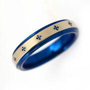 刻印可能 タングステン 4mmクロス リング 指輪 ブルー