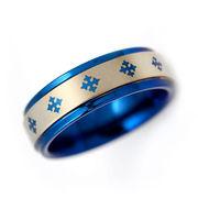 刻印可能 タングステン 6mmクロス リング 指輪 ブルー