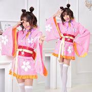 【即日出荷】赤帯 ピンク 着物ドレス コスプレ衣装 【4088】