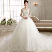 人気新品 贅沢 パーティー トレーン ウエディングドレス ブライダルドレス 編み上げ 結婚式 披露宴