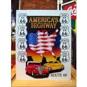 アメリカンブリキ看板 U.S. ROUTE66 星条旗 -AMERICAN'S -