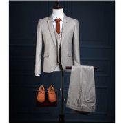 高品質 セットアップスーツ/メンズ/(3点セット) カジュアル花婿の介添え人 フォーマル チェック柄
