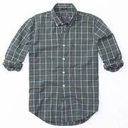 正規品 アバクロ メンズ カジュアルシャツ ( 長袖 ) Abercrombie&Fitch Cotton Poplin Shirt (グリーン)