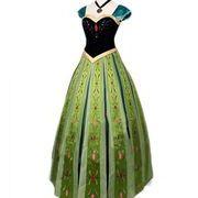 アナと雪の女王 コスプレ ドレス  刺繍(柄部分)  大人用  ネックレスとパニエ付き!