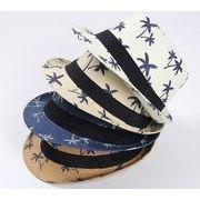 新品   西洋式 帽子  麦わら帽子 キャップ 日焼け止め   トッパー  大人 プリント