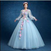 新品 上品 エレガント パーティードレス 花飾り チュールスカート ロングドレスウェディングドレス