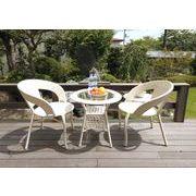 【ラタン家具】 ガーデン3点セット ≪1テーブル+2チェアー≫ ホワイト(直送可能)