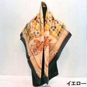 【日本製】【スカーフ】シルクツイル馬車タータン柄日本製四角スカーフ