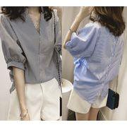 新作人気 レディーストップス カジュアル 韓国スタイルブラウス 半袖Tシャツ全2色 後ろボタン スキッパー