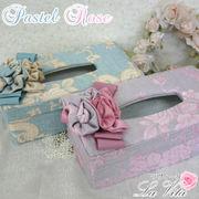 パステルローズシリーズ ティッシュボックスケース<薔薇 ローズ コサージュ リボン>