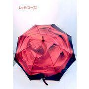 【雨傘】【長傘】アート傘シリーズ薔薇・ダリヤ・ヒマワリ・ディジー柄手開き傘