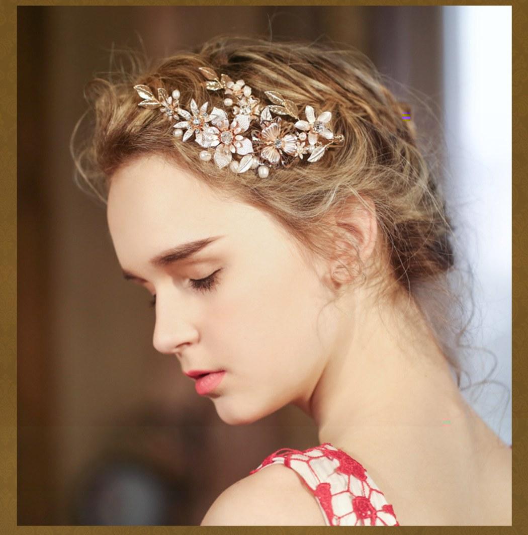 abda2faf98019 おしゃれクラシックお花とダイヤ 花嫁結婚式二次会祝い舞台用 ヘアクリップ ヘアアクセサリー