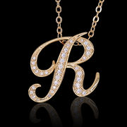 aネックレス≪R≫ K18 コーティング イニシャルネックレス   ゴールド ホワイトゴールド ピンクゴールド