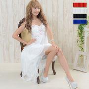 【再入荷】0337パーティードレス フォーマル キャバドレス 胸元ビジューテールカットロングドレス