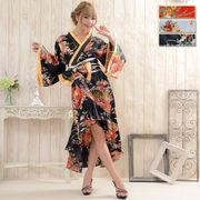 【再入荷】0011花魁風帯付き総和柄サテン裾フリルロングドレス 衣装 よさこい コスプレ キャバドレス