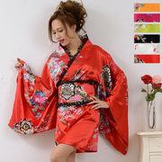 【再入荷・新色追加】1005レースフリルリボンつきサテン花魁着物ドレス和柄 衣装 ダンス よさこい コスプレ