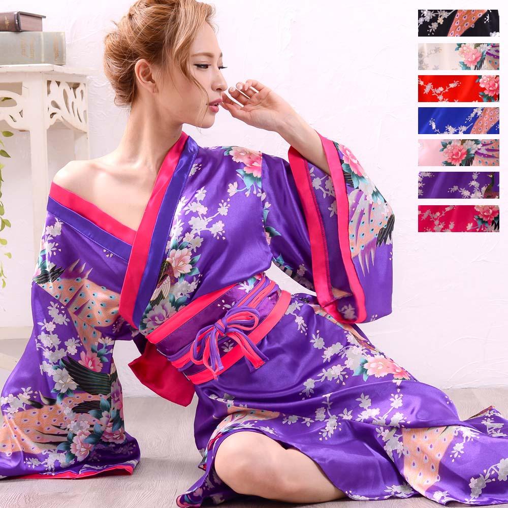 【新色追加】0006孔雀和柄花魁着物ロングドレス 和柄 衣装 ダンス よさこい 花魁 コスプレ キャバドレス