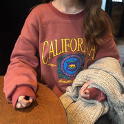 秋服 女性服 韓国風 原宿スタイル レターズ 漫画 ルース 裏起毛 手厚い セーター ト