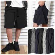 【SALE セール】 メンズ ワイド ショートパンツ / ショーツ ハーフパンツ タック スーツ生地 ストライプ柄
