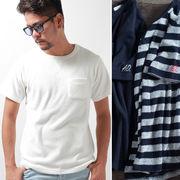 【2017SS新作】 メンズ 両面パイル Tシャツ / 半袖 無地 ボーダー