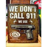 アメリカンブリキ看板 コルト/Colt 緊急電話は掛けない
