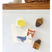 【WOOD】木製マグネット ふくろうセット/はりねずみセット