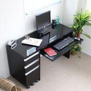 デスク 新タイプ 鏡面仕上げ90+30cmパソコンデスク2点セット ブラック FS-4070BK