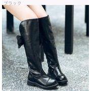 女児 秋と冬 新しいデザイン 韓国風 ブラック ハイブーツ 暖かい ブーツ 児童 リボン