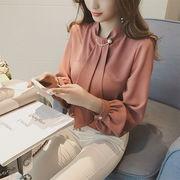 春新作シフォンブラウス 人気シフォンシャツ 可愛い胸元パールタイ  レディース トップス 通勤 上品