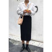 秋冬 新しいデザイン 女性服 単一色 プリーツ 気質 中長デザイン ハイウエスト 着やせ