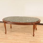 【イタリア製家具】 センターテーブル(茶枠・大理石緑・楕円)(直送可能)