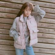 秋冬 女性服 新しいデザイン 韓国風 着やせ 何でも似合う コットンコート ベスト ベス